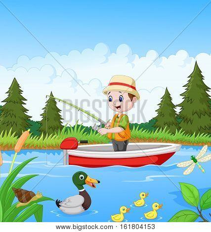 Vector illustration of Cartoon boy fishing on a boat