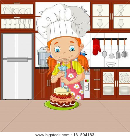 Vector illustration of Chef girl with apron decorating cake