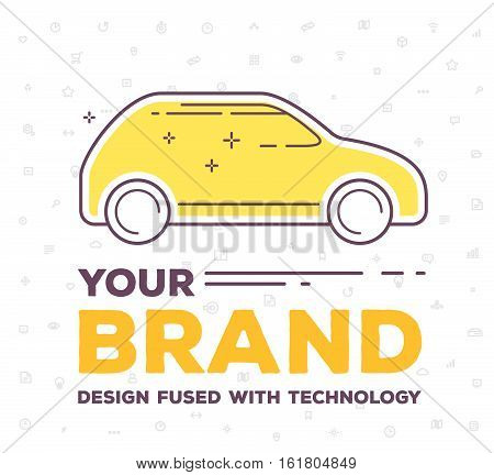 Vector Creative Illustration Of Side View Car With Pattern Of Line Icons And Word Typography On Whit