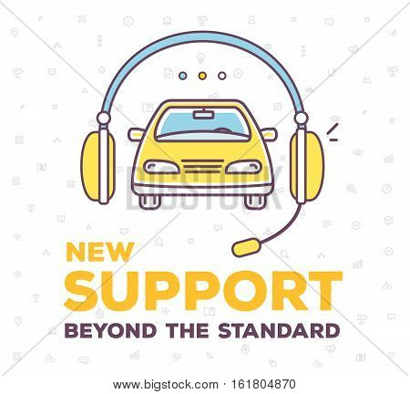 Vector Creative Illustration Of Car And Support Headphone With Header On White Pattern Background.