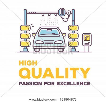Vector Creative Illustration Of Color Carwash With Header On White Background.