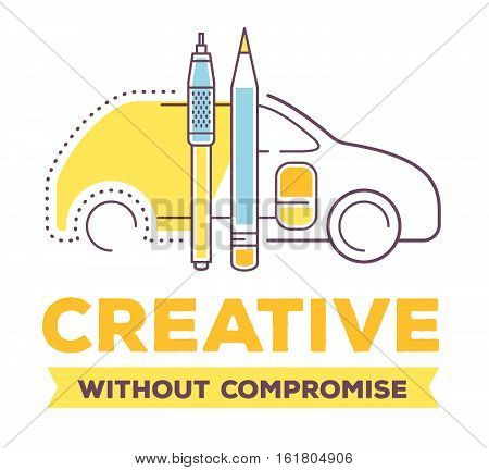 Vector Creative Illustration Of Linear Car With Drawing Tools And Header On White Background.
