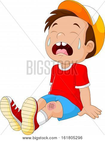 Vector illustration of Cartoon crying boy with wounded leg