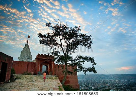 Sun Temple or Monkey Temple in Jaipur Rajasthan India. A small but very interesting temple on the hill below the city. It has an amazing view of whole Jaipur.