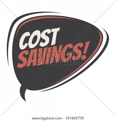 cost savings retro speech balloon