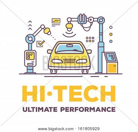 Vector Illustration Of Car High Tech Service With Header On White Background.