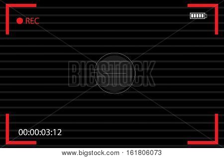 Camera view finder. focusing screen camera. recording. Video screen vector. Flat design for business financial marketing banking concept cartoon illustration