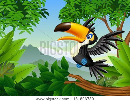 Vector illustration of Cartoon toucan in the jungle