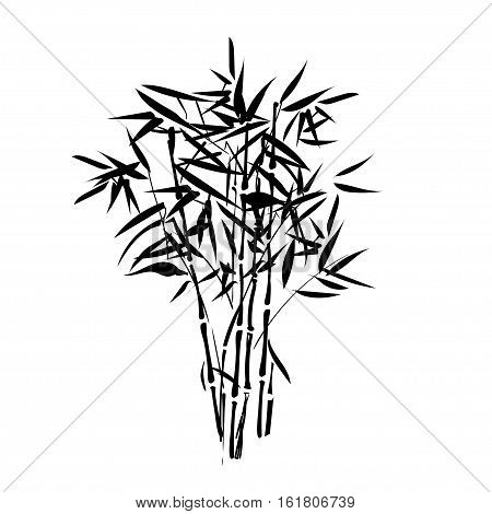 Isolated tropical bamboo silhouette can be used as a sticker