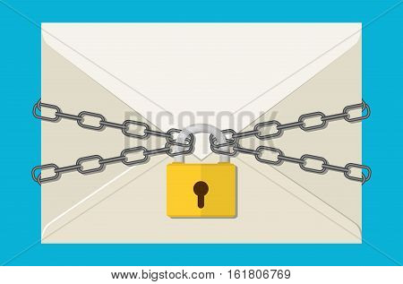 The gray metal chain and padlock, letter. concept of protection e-mail, internet technology, business mail from virus, hacker, cyber attack. flat illustration