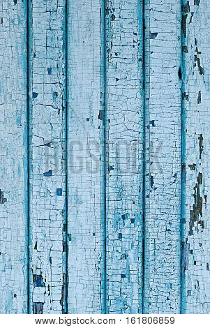 Wall from wooden planks with blue paint. Cracked paint on a wooden planks.