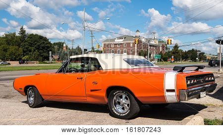 ROYAL OAK MI/USA - AUGUST 18 2016: A 1970 Dodge Coronet R/T car at the Woodward Dream Cruise. Woodward is a National Scenic Byway.