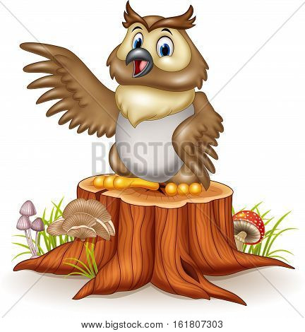 Vector illustration of Cartoon owl waving his wings standing on the tree stump