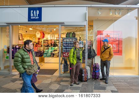 Karuizawa,Japan - 20 November 2016 : Many people shopping in the Karuizawa prince shopping plaza