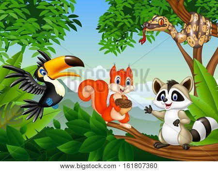 Vector illustration of Cartoon forest scene with different animals