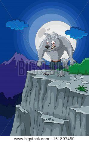 Vector illustration of Cartoon werewolf with full moon