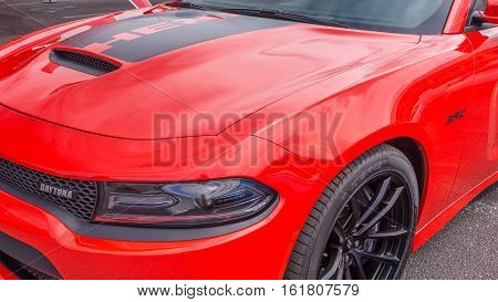 ROYAL OAK MI/USA - AUGUST 18 2016: Close up of a 2017 Dodge Charger Hemi Daytona car at the Woodward Dream Cruise. Woodward is a National Scenic Byway.