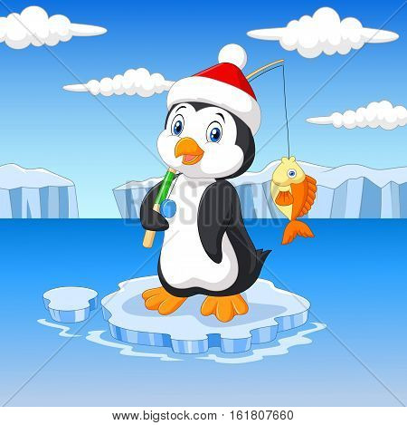 Vector illustration of Cartoon fishing penguin standing on ice floe