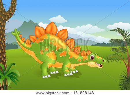 Vector illustration of Cartoon cute stegosaurus posing with the prehistoric background