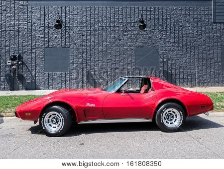 FERNDALE MI/USA - AUGUST 19 2016: A 1974 Chevrolet Corvette car at the Woodward Dream Cruise. Woodward is a National Scenic Byway.