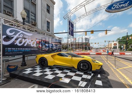 FERNDALE MI/USA - AUGUST 19 2016: A 2016 Ford GT car under a Le Mans banner at