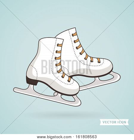 Ice skates. Sport and winter holiday themes. Vector illustration.