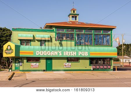 ROYAL OAK MI/USA - AUGUST 17 2016: Duggan's Irish Pub on the Woodward Dream Cruise route. Woodward is a National Scenic Byway.