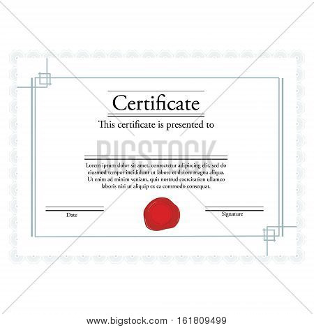 Vector illustration of certificate template with red wax stamp and blue frame. Certificate border. Modern certificate