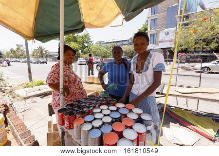 Market On Street In Francis Town, Botswana