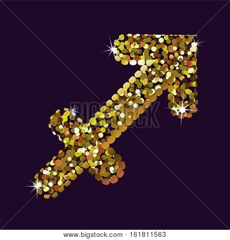 Golden Symbol Of Sagittarius. Zodiac. Vector