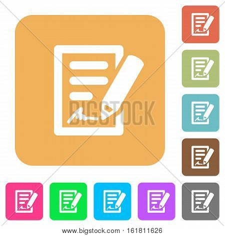 Signing contract icons on rounded square vivid color backgrounds