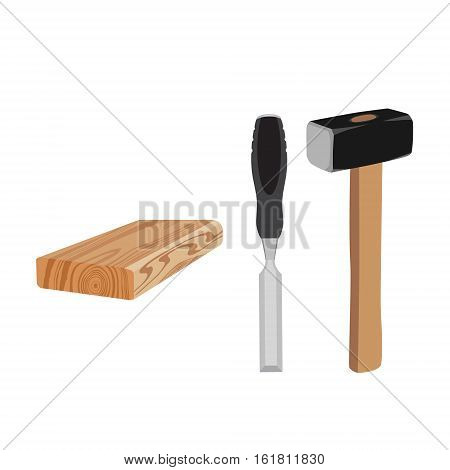 Vector illustration chisel hammer and rasped wooden timber plank board for building construction or floring. Isolated on white background. Carpenter carpentery working tools set collection
