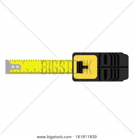 Vector illustration yellow measuring roulette isolated on white background top view. Construction tool. Tape measure icon symbol