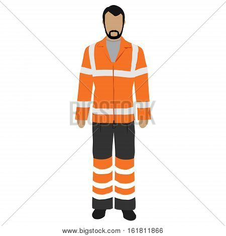 Vector illustration worker in orange safety jacket. Worker safety clothing. Protective worker uniform jacket with reflective stripes.