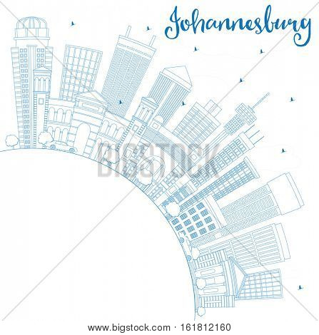 Outline Johannesburg Skyline with Blue Buildings and Copy Space. Business Travel and Tourism Concept with Johannesburg Modern Architecture. Image for Presentation and Banner.