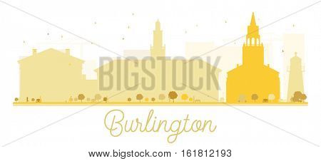 Burlington City skyline golden silhouette. Simple flat concept for tourism presentation, banner, placard or web. Business travel concept. Cityscape with landmarks
