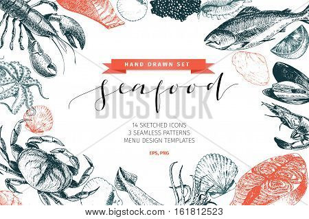 Vector hand drawn set of seafood icons. Lobster salmon crab shrimp ocotpus squid and clams. Engraved art. Delicious food menu objects. Use for resaurant promotion market store banner