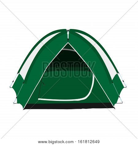 Vector illustration green camping tent isolated on white background