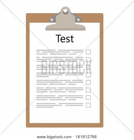 Vector illustration test exam paper on clipboard. Exam or survey concept icon. School test. School exam.