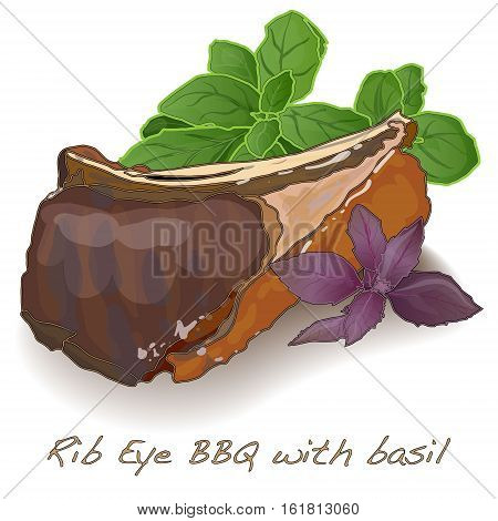 rib eye bbq with basil isolated on white background .