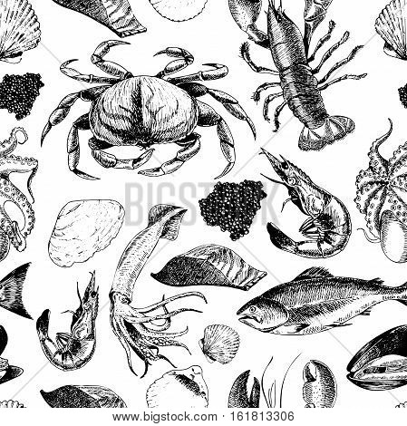 VEctor seamless pattern of seafood.Lobster crab salmon caviar squid shrimp and clams. Hand drawn engraved icons. Delicious food menu objects. Use for resaurant promotion market store banner