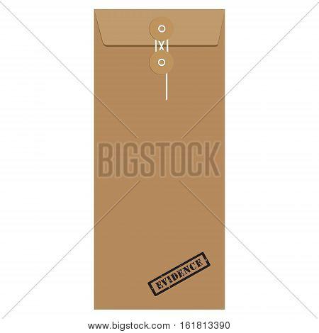 Brown long postal envelope template with black rubber stamp evidence vector illustration. Envelope sealed with string.