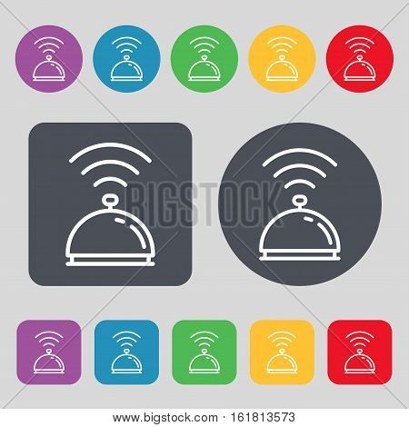 Tray Icon Sign. A Set Of 12 Colored Buttons. Flat Design. Vector