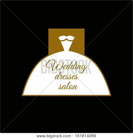 Classic white wedding dress. Logo for salon boutique shop ball dresses. Full skirt krinoline neckline. Vector icon in style of minimalism. Symbol of luxury glamour femininity and sexuality.
