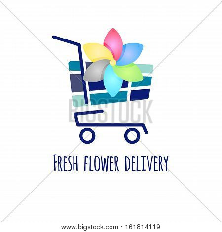 Fresh flower delivery. Vector logo icon of daisies in cart