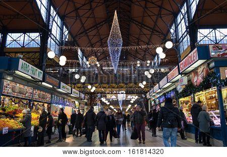 Christmas Interior Of The Great Market Hall (nagycsarnok). Budapest Hungary
