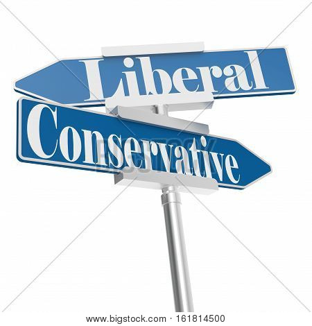 Change Directions With Conservative And Liberal Signs