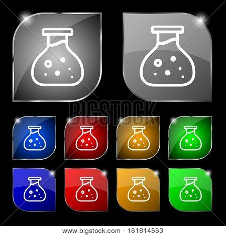 Chemical Icon Sign. Set Of Ten Colorful Buttons With Glare. Vector