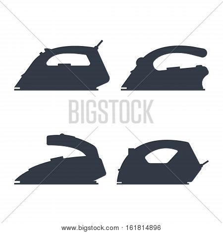 Set of black silhouette irons isolated on white background - vector illustration. Flat icon logo electrical equipment, ironing electric appliance, home device, housework tool.