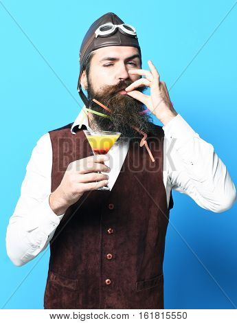 Satisfied Handsome Bearded Pilot